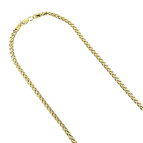 14K Yellow Gold Franco Chain 4mm Wide Diamond Cut Necklace with Lobster Clasp 22 inches long