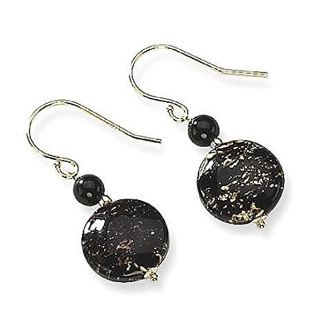 IceCarats 14k Yellow Gold Murano Glass Bead Black Onyx Wire Drop Dangle Chandelier Earrings