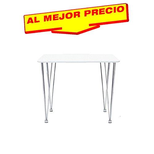 MESA DE COCINA MESA DE SALON MULTIUSOS CROMADA TAPA DE MADERA LACADA BLANCA DE 75 X 75 CMS- OFERTAS HOGAR -¡AL MEJOR PRECIO!