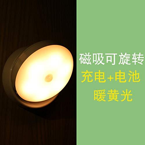 LED-Körper Sensor Licht drahtlose Aufladung Batterie Gang Fütterung Nächte Augenschutz Nachtlicht-Magnetic Rotation - Laden + Batterie Warm Yellow
