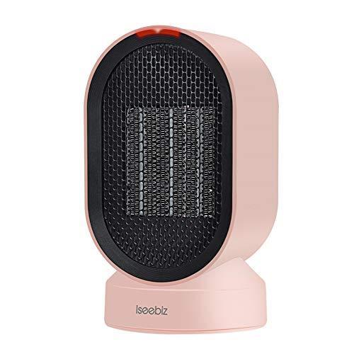 Iseebiz 600W Calefactor Bajo Consumo Ceramico de Aire Caliente o Natural Calefactor Portátil para Hogar y Despacho Color de Rosa