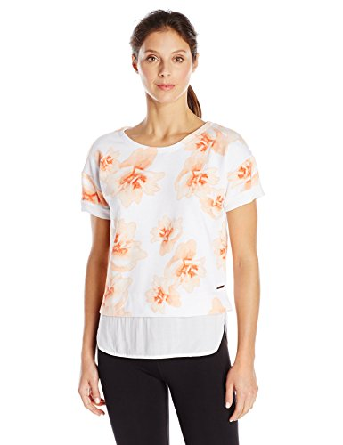 Marc New York Performance Women's Printed 2-Fer Pullover, Tiger Lily Daffodil/White, Small