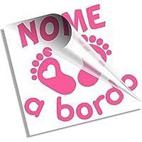 Stickeredo® Bimbo a bordo, adesivo auto bimbo bimba personalizzato con il nome
