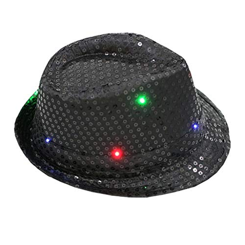 Vamoro Jazz Hut, Blinkendes Licht führte bunten Unisexabendkleid-Tanzparty-Hut Erwachsene Glitter Pailletten Hut Kostüm Party Cap für Tanzparty mit 9 Blinkende LED Lampen(Schwarz)