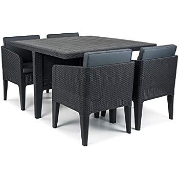 Immagini Tavoli E Sedie Da Giardino.Keter Columbia Set Tavolo E Sedie Da Giardino 5 Pezzi Grafite