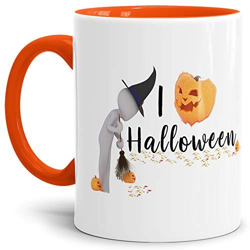 Tassendruck Halloween-Tasse mit Spruch I Love Halloween - Kürbis/Lustig / Witzig - Innen & Henkel Orange