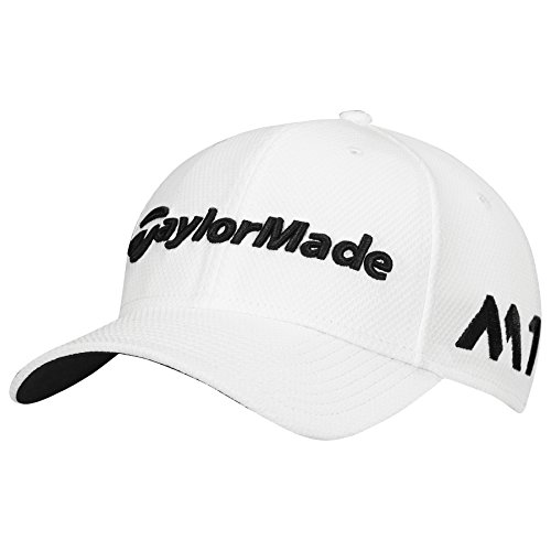 TaylorMade 2017 New Era Tour Authentic 39Thirty Stretch Hat Structured Mens Golf Cap White Small/Medium