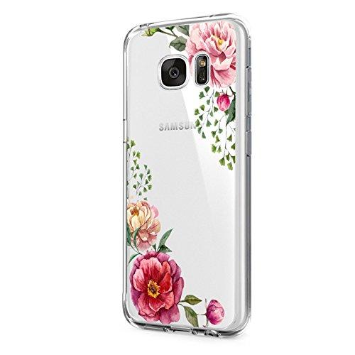 Pacyer Samsung Galaxy S6/S6 Edge/S6 Edge Plus Hülle transparent Silikon Ultra dünn Cooler grüne Blätter Wolf Schutzhülle Rückschale Handyhülle TPU Case Backcover (Blumen 2, Galaxy S6 Edge)