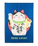 Liveinu Maneki Neko Japanische Noren Tür Vorhang mit Teleskopstange Leinen Vorhang Panels Für Schlafzimmer Badezimmer 85 x 120 cm Glückliche Katze 9