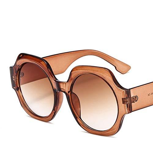 Taiyangcheng Polarisierte Sonnenbrille Mode runde Frauen Sonnenbrille markendesigner transparent dicken Rahmen gradienten Sonnenbrille Frau leopardeyewear uv400,C4