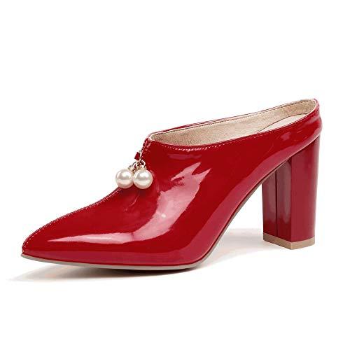 HLG Dicke high heels pumpt frauen spitze zehenschuhe perlenpantoletten weiblichen patent pu schuhe frau 2019 frühling,Red,36EU Sexy Red Patent Schuhe