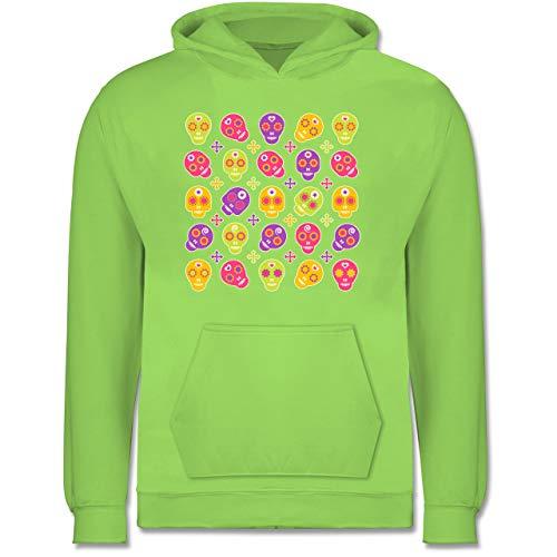 Shirtracer Up to Date Kind - Candy Skull - 9-11 Jahre (140) - Limonengrün - JH001K - Kinder Hoodie (Die Gute Halloween-kostüm Ideen Jungs 2019)