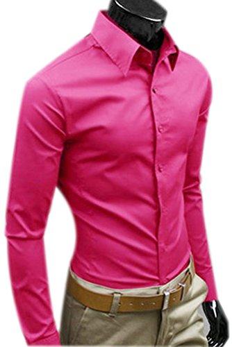 Camicie Uomo Slim Fit Maniche Lunghe Casual Camicia Abito Camicia Affari Top Classiche Formale Camicetta Shirt Moda Men Colore Puro Shirts Rose Red