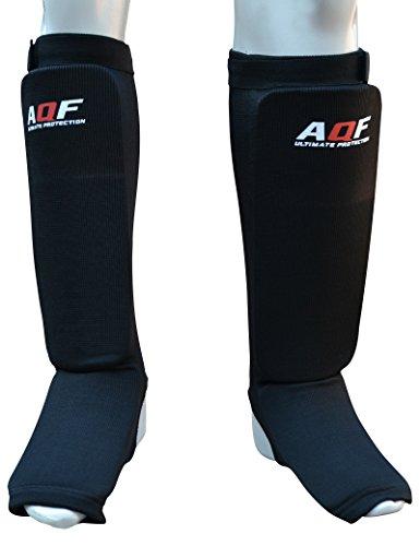 AQF Schienbeinschoner Boxen MMA Kampfsport Schienbeinschutz 2er-Paar Kickboxen Schienbeinschützer Shin Guard (Schwarz, S)