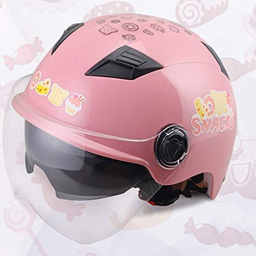 LALEO Estate Carino Open Face Casco da Moto, Regolabile Removibile Traspirante Mantieni Doppi Occhiali per Donna e Uomo Adulto, Omologato ECE (55-62cm),Pink
