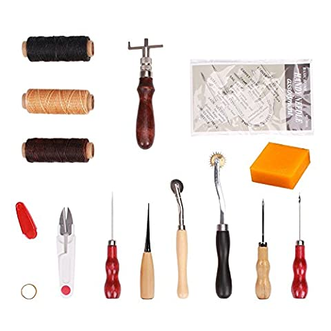 ECLEAR 14 Piece Leather Craft Needle Set Portable Basic Hand Stitching Sewing Punch Tool Set Kit with Sewing