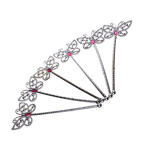 6x Feenstab Fee Prinzessin Zauberstab Schmetterling Herz Krone Tiara blumen - farbe1, 24x8 cm (Tinkerbell Kostüm Tiara)