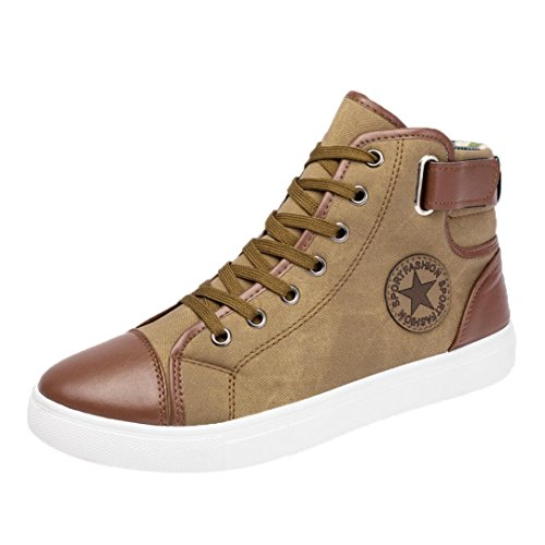 Byste scarpe da uomo e donne, nuovo stile lace-up scarpe di tela moda casuale scarpe alte, confortevole traspirante scarpe basse stivaletti high-top scarpe sneakers (46 eu, cachi)