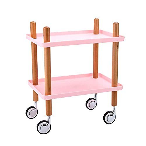Regal Küchenwagen 2-lagiges Holzspeiserad Restaurant- und Familienwagen Aufbewahrungswagen - Weiß (Farbe: Pink)