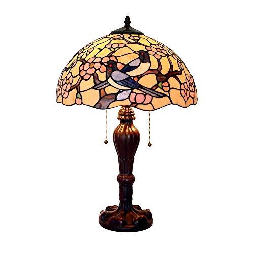 Glass Shade Nachttischlampe, Tiffany Style Schreibtischlampe Plum Blossom Elster Design E27 2-Lights Leuchten für Esszimmer Living Room B 60W (Farbe : B-60W) -