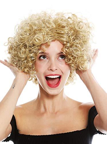 WIG ME UP - 1352-ZA89 Perücke Damen Karneval Halloween Diva kurz lockig Mittelscheitel Blond (Lockige Perücke Blonde Kurze)