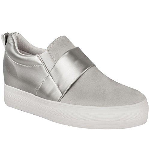Damen Plimsoll-Sneaker ohne Verschluss - Keilabsatz innen - EU-Größen 36-41 Grau Wildleder / Silber-Metallic