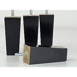 4x Negro Acabado patas de madera para muebles piernas 100mm de altura para sofás, sillas, taburetes M8(8mm)