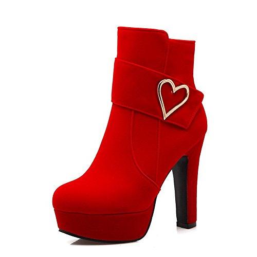 VogueZone009 Damen Hoher Absatz Metalldekoration Rund Zehe Reißverschluss Stiefel Rot