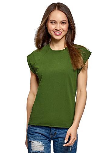 oodji Ultra Damen Baumwoll-T-Shirt Basic mit Unbearbeitetem Saum, Grün, DE 36 / EU 38 / S -