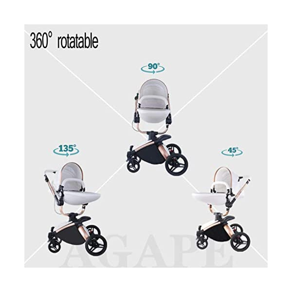 Stroller, Two-Way SUV-Class Stroller, High-Profile Light Folding Baby Four-Wheeled Cart YSSY - Triangular frame, greatly improving the load-bearing and shock-absorbing performance of the body. - High-end environmentally-friendly PU leather, waterproof and anti-fouling, a clean wipe. - SUV-level suspension design, easy to apply to a variety of road surfaces. 5