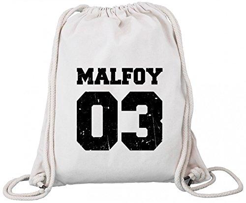 (ShirtStreet Fanartikel Fan Kult Film Trikot Bio Baumwoll Turnbeutel Rucksack Gym Bag Malfoy 03, Größe: onesize,Natural)