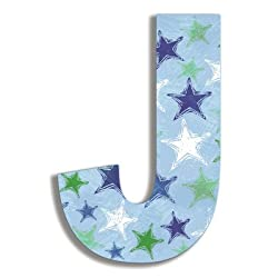The Kids Room by Stupell Blue Distressed Stars Hanging Wall Initial, J