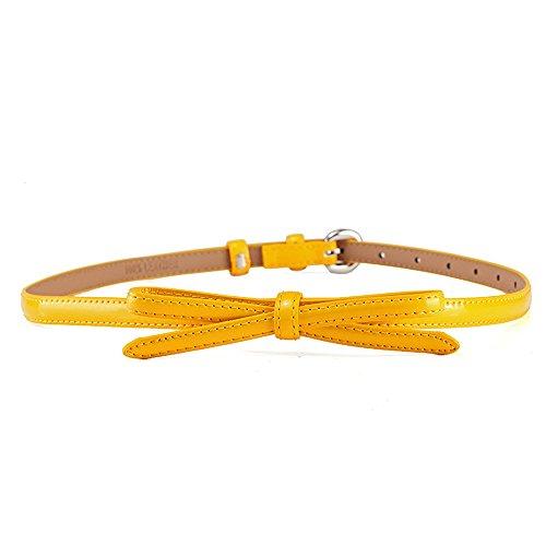 Y-WEIFENG Damen Gürtel Skinny Belt Bow Kette Elastischer Taillenbund Bund ` (Farbe : Gelb) Bow Skinny Belt
