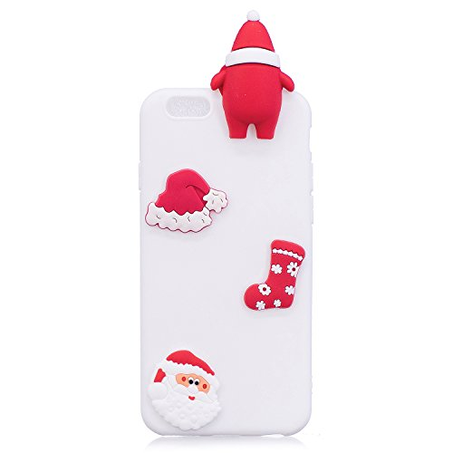 Cover iPhone 6s plus Custodia iPhone 6 plus Silicone Anfire Morbido Flessibile Gel TPU Case per iPhone 6 plus / 6s plus (5.5 Pollici) Ultra Sottile Antiurto Cartoon Protettivo Bumper Shell Ultra Legge Bianco Babbo