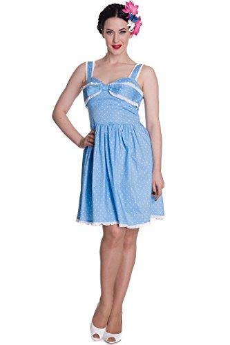 Hell Bunny ORLANDO Polka Dots DRESS Punkte KLEID Rockabilly - Blau Blau