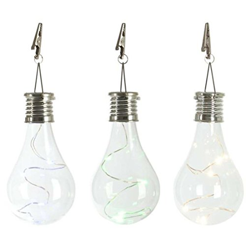 HKFV Waterproof Solar Rotatable Outdoor Garden Camping Hanging LED Light Lamp Bulb(clear)
