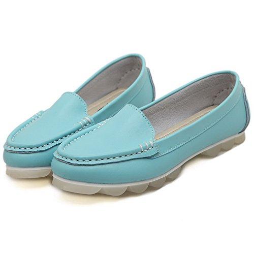 AalarDom Femme Rond Non Talon Dépolissement Couleur Unie Tire Chaussures à Plat Bleu