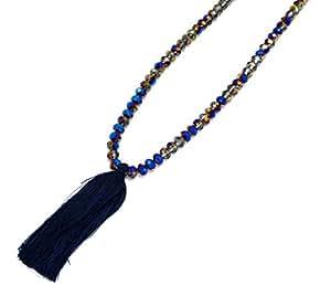CL426 - Sautoir Collier Perles Brillantes et Pendentif Pompon Bleu Nuit/Gris - Mode Fantaisie
