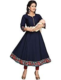 Hriday Fashion Cotton Maternity/Nursing/Easy Feeding/Breastfeeding/Kurti/Anarkali Kurta/Dress/with Zippers for Women's PRE and Post Pregnancy