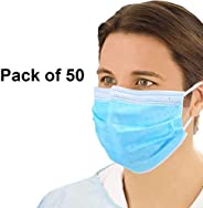 Suzec Mask-3Ply Spun-Bound Disposable Mouth, Nose, Dust, Pollution Mask (Color May Vary) - Pack of 50