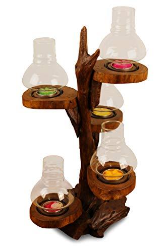 Kinaree Windlicht für 5 Kerzen 44cm Teelicht Teak Wurzelholz Windlicht Baum