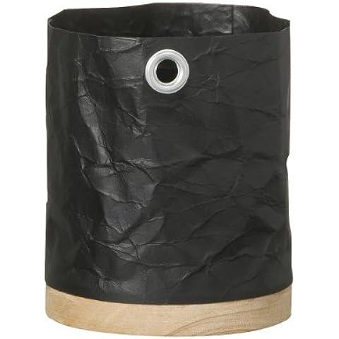 Papel reciclado y madera maceta, negro, mediano