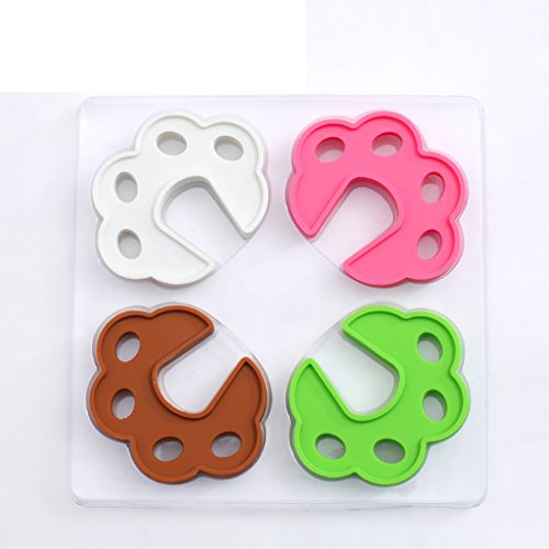 Porte de la porte de sécurité pour enfants Porte de la porte pour bébé Porte - empreinte de silicone créatif environnemental (1 jeu 4 pièces)
