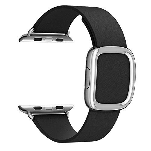 Apple Watch Correa,Plata Moderna Hebilla,MaKer De lujo del cuero genuino,Pulseras de repuesto para iWatch Serie 2 y 1---[42mm,Negro]