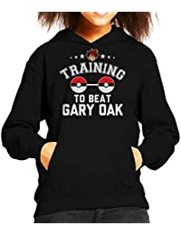 Pokemon Training To Beat Gary Oak Kids Hooded Sweatshirt