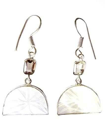 SHELL & SMOKY pietra preziosa del Topaz 925 STERLINA SOVRAPPOSIZIONE Orecchini fatti a mano per le donne di moda in argento