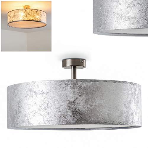 Deckenleuchte Foggia, runde Deckenlampe mit Lampenschirm aus Stoff in Silber/Weiß, Ø 50 cm, LED-fähig, 3 x E27-Fassung, 40 Watt, Retro-Design