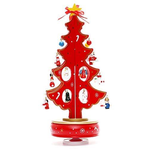 Detazhi Weihnachtsdekoration Spieluhr Holz-Handwerk aus Holz Spieluhr Holz-Handwerk kreative Musik Weihnachtsbaum Desktop Verzierungen-rot (Color : Red)