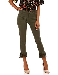 La Modeuse Jeans coupe 7/8 ème avec finitions à franges