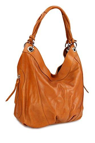 Belli ital. Nappa Leder Shopper Handtasche Damentasche Ledertasche cognac - 35x31(mittig) x17 cm (B x H x T) -